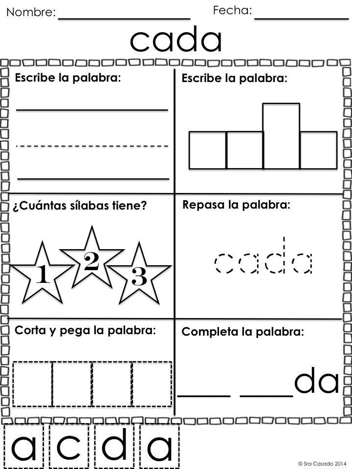 Spanish Kindergarten Worksheets Spanish Sight Word Worksheets 94 1 2 3 and 4 Letter