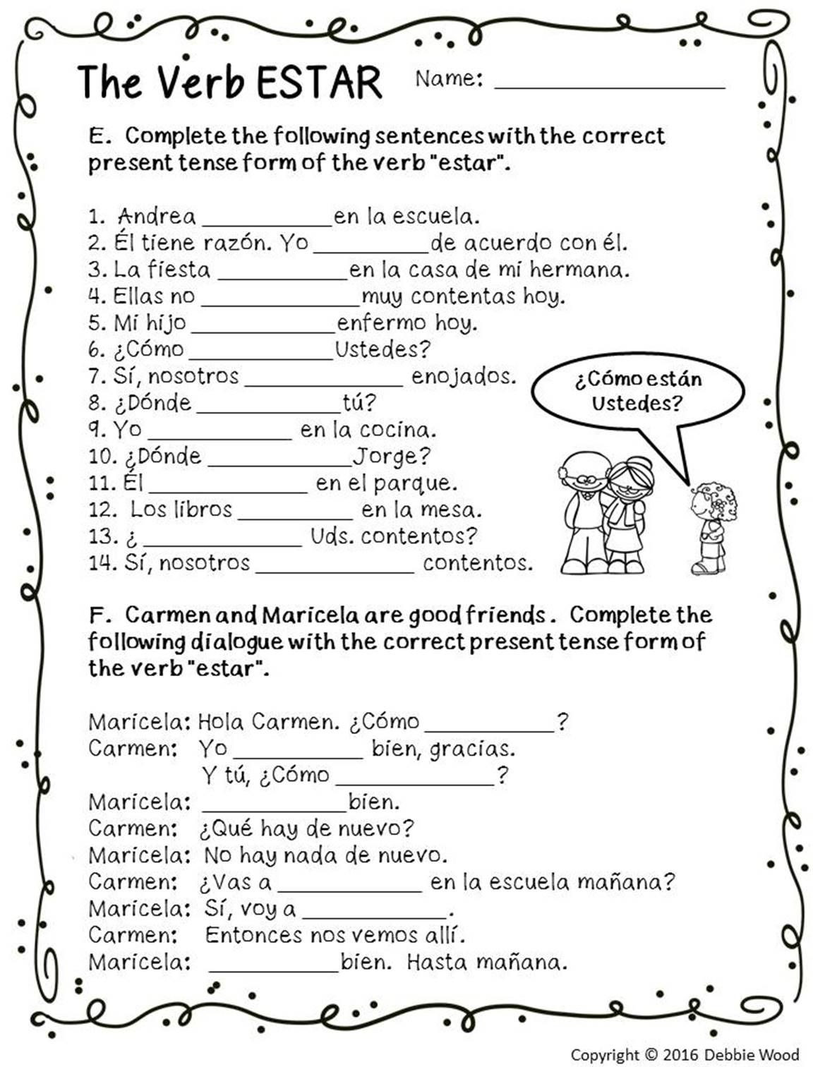 Spanish Reflexive Verbs Worksheet Printable Spanish Estar with Emotions