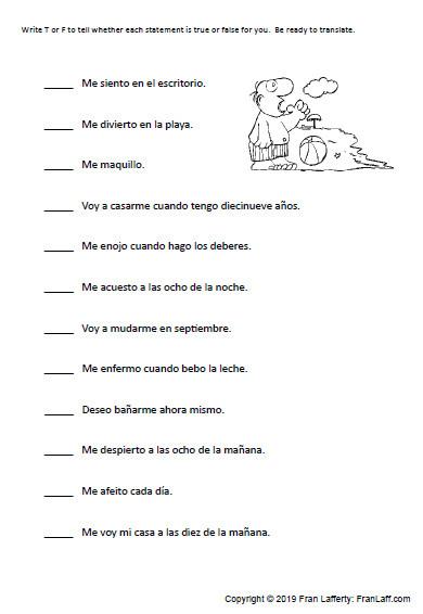 Spanish Reflexive Verbs Worksheet Printable Spanish Gustar & Reflexive Verbs – Franlaff