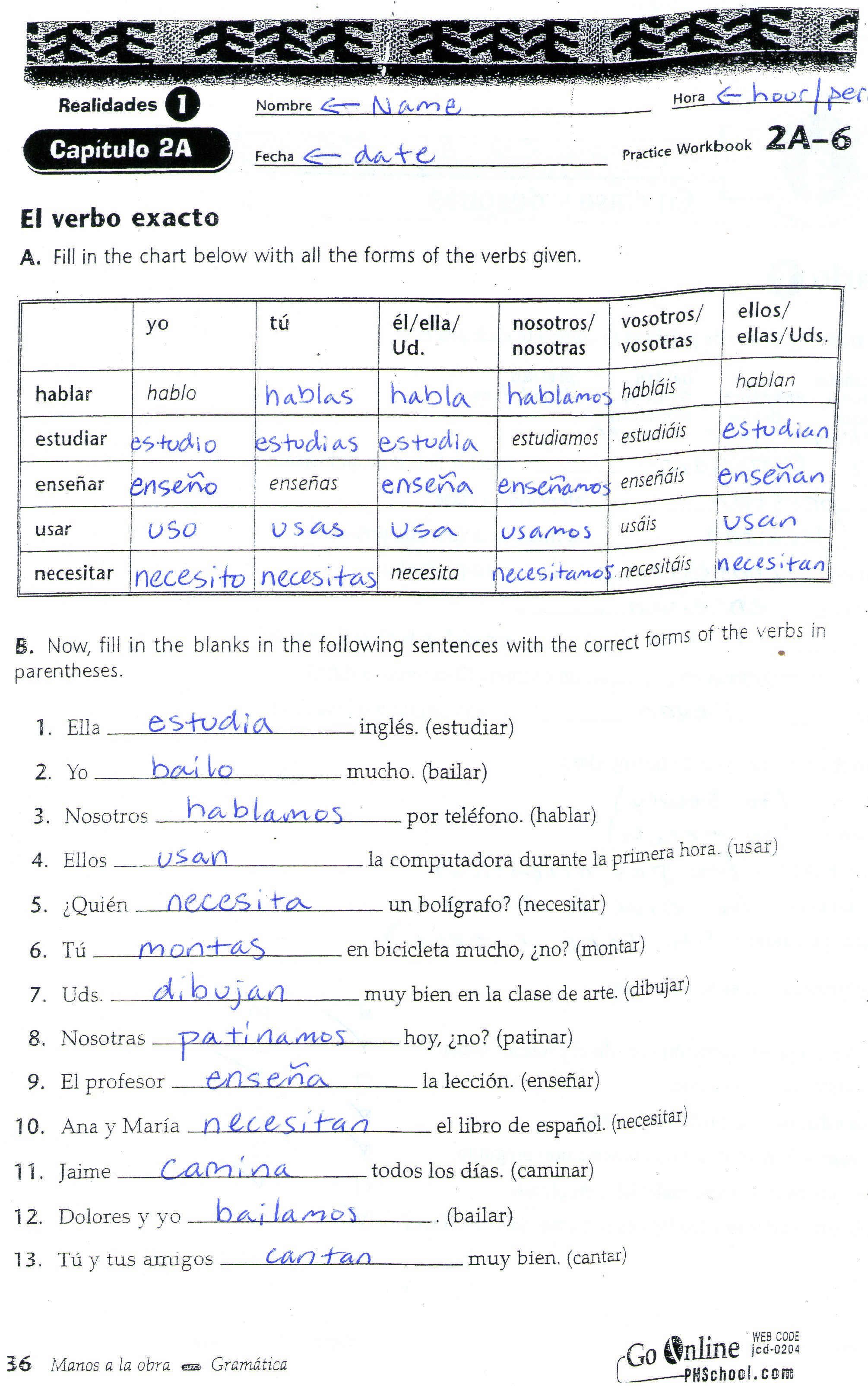 Spanish Reflexive Verbs Worksheet Printable Worksheet 415 Reflexive Verbs Answer Key