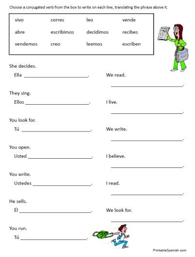 Spanish Verb Conjugation Worksheets Printable 30 Page Worksheet Packet On Spanish Regular Introductory