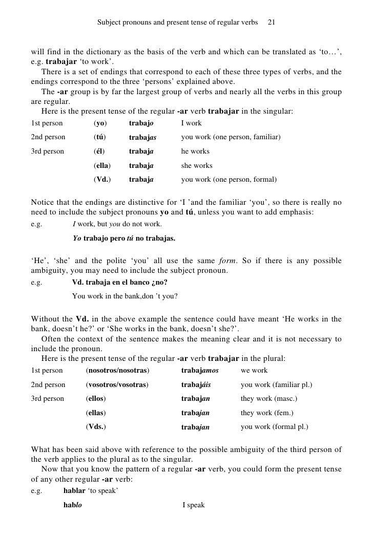 Spanish Verb Conjugation Worksheets Printable Math Worksheet Basic Spanish A Grammar Workbook Spanish