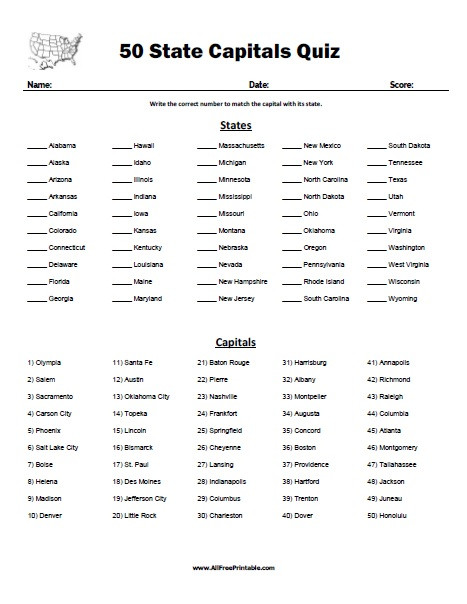 State Capitals Printable Quiz 50 State Capitals Quiz Free Printable Allfreeprintable