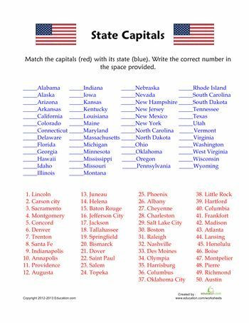 State Capitals Printable Quiz 50 States and Capitals Quiz