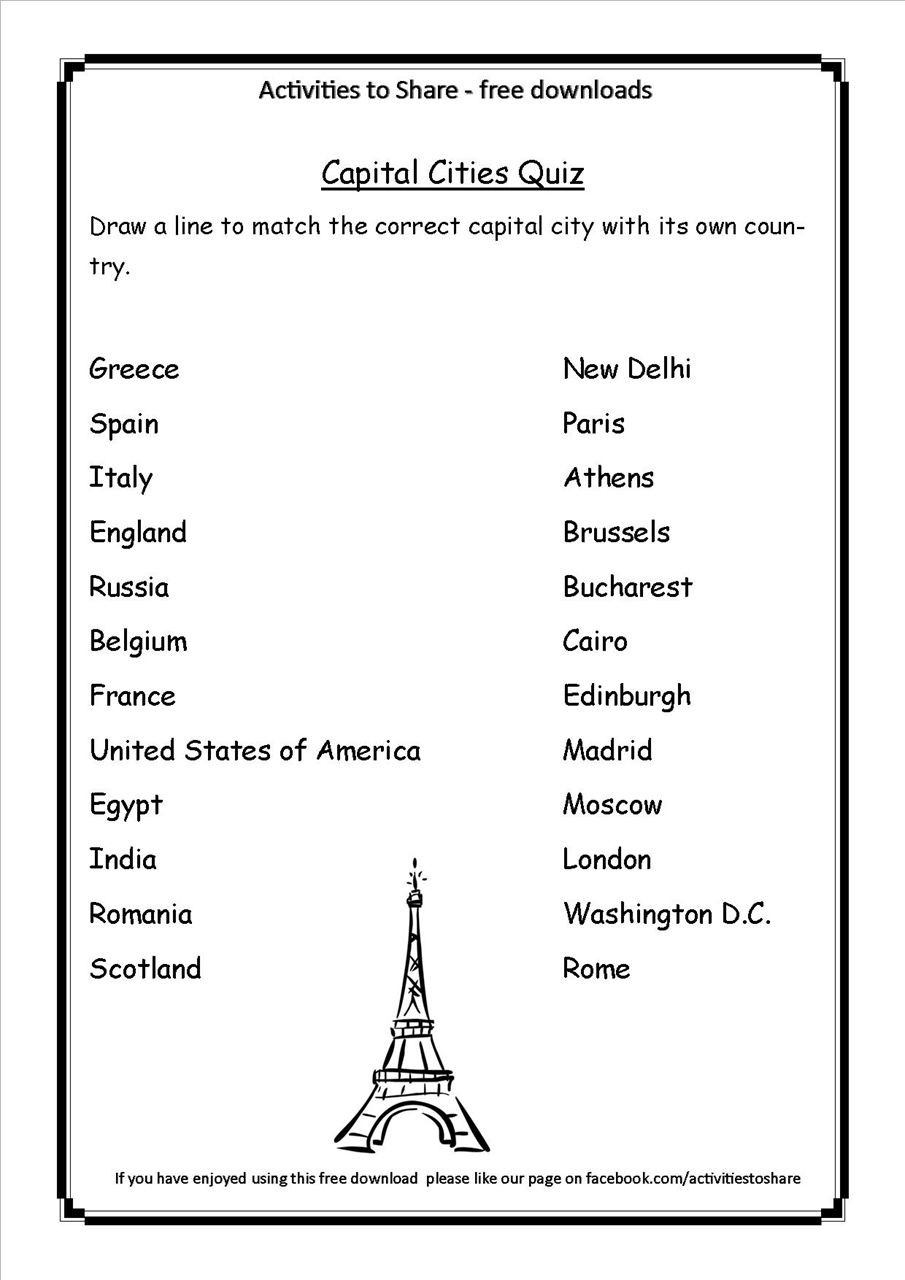 State Capitals Quiz Printable Picture Of Dl34 Capital Cities Quiz