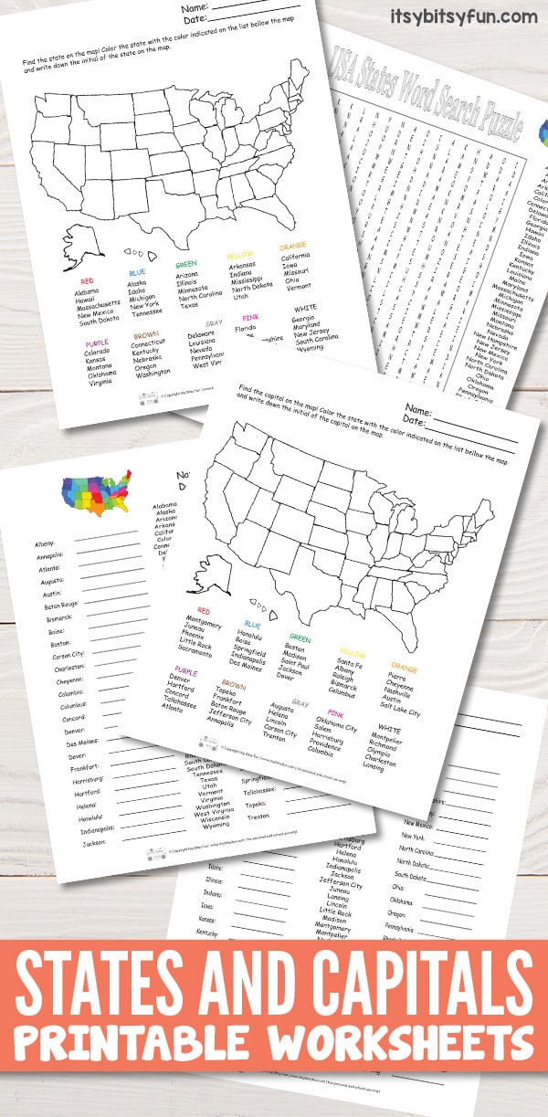 State Capitals Quiz Printable States and Capitals Worksheets Itsy Bitsy Fun