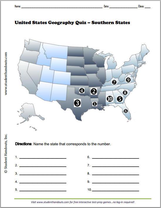 State Quiz Printable southern States Map Quiz Worksheet