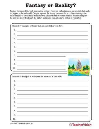 Story Elements Worksheet 5th Grade Fantasy or Reality Understanding Story Elements Teachervision