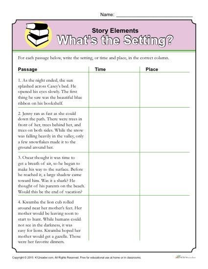 Story Elements Worksheet 5th Grade Story Elements Worksheet What S the Setting
