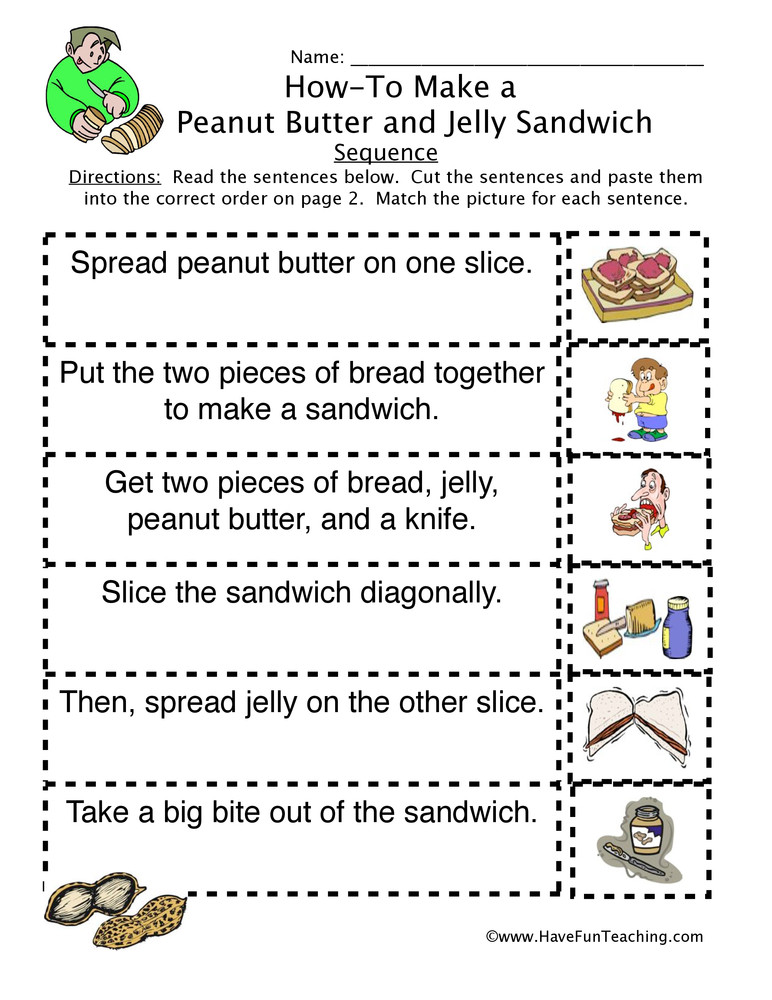 Story Sequence Worksheets for Kindergarten How to Peanut butter Jelly Sandwich Sequence Worksheet