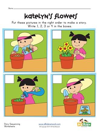 Story Sequence Worksheets for Kindergarten Sequencing Worksheet Flowers