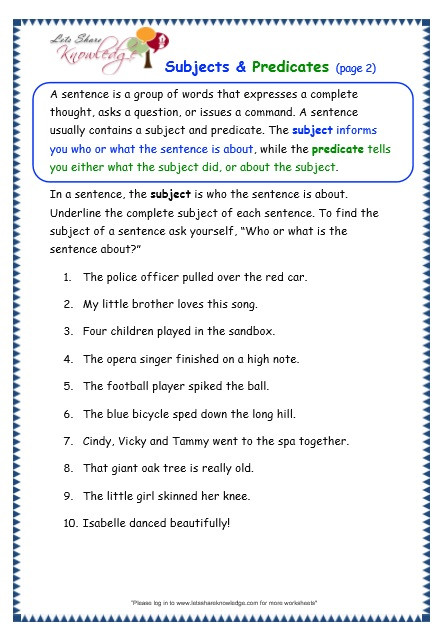 Subject Predicate Worksheet 2nd Grade Grade 3 Grammar topic 38 Subjects and Predicates Worksheets