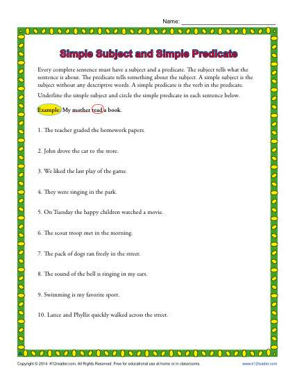 Subject Predicate Worksheet 2nd Grade Simple Subject and Simple Predicate