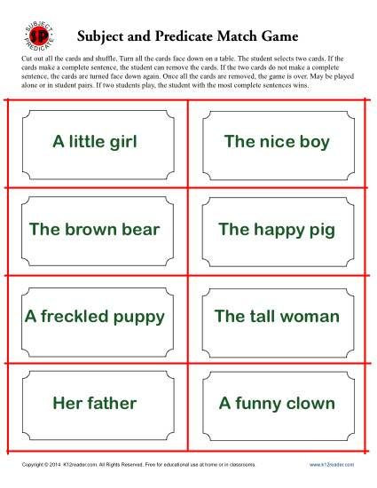 Subject Predicate Worksheet 2nd Grade Subject and Predicate Match Game