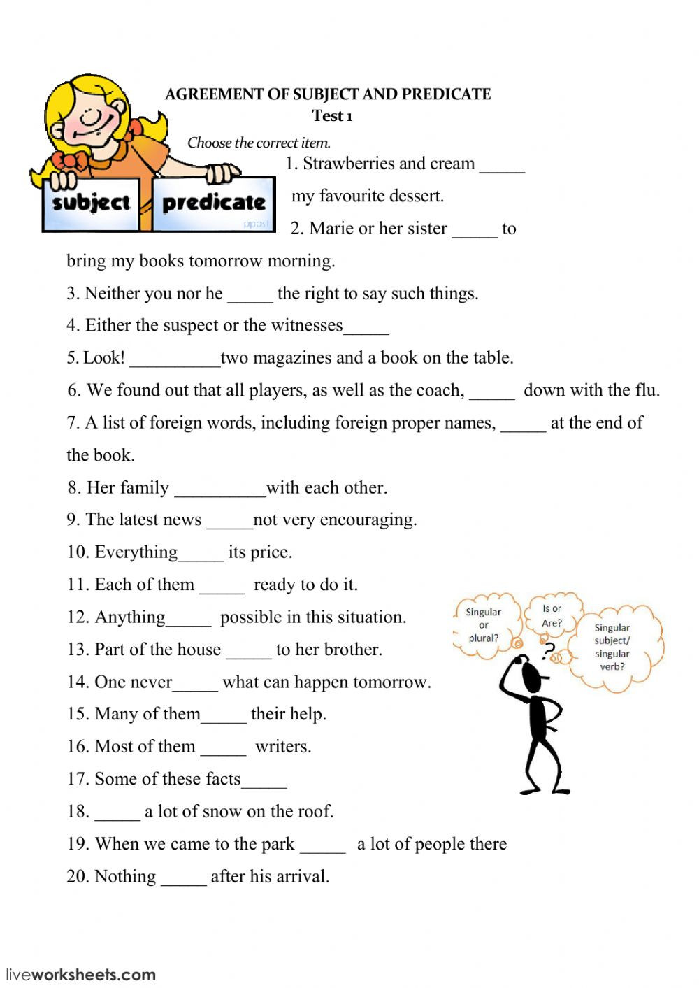 Subject Predicate Worksheet 2nd Grade Subject and Verb Agreement Interactive Worksheet
