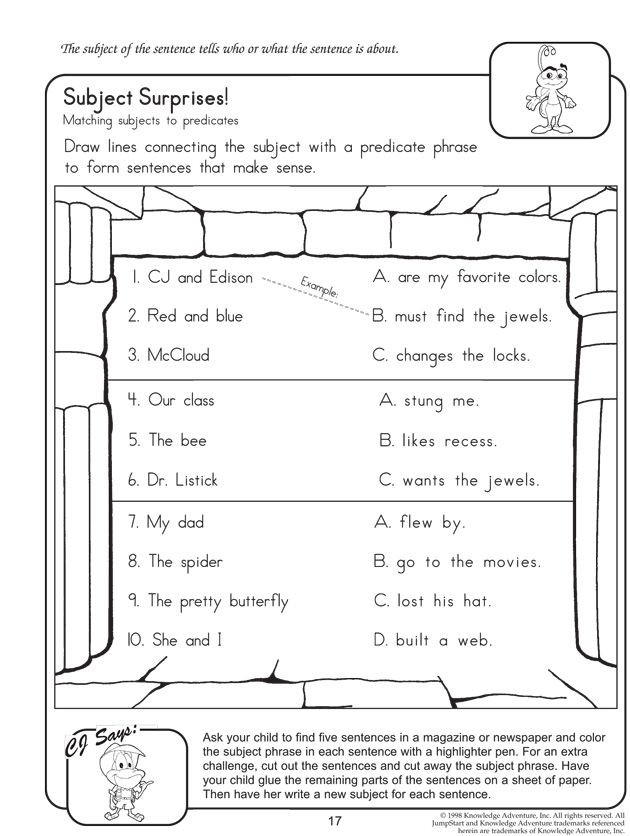 Subject Predicate Worksheet 2nd Grade Subject Surprises English Worksheet On Subject and