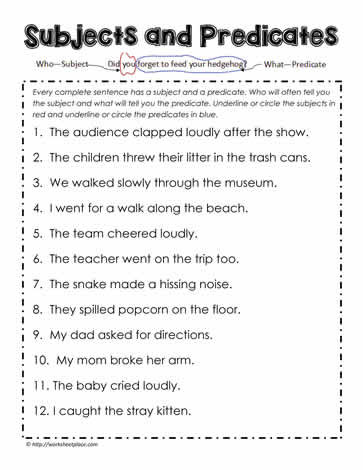 Subject Predicate Worksheet 2nd Grade Subjects and Predicates Worksheets