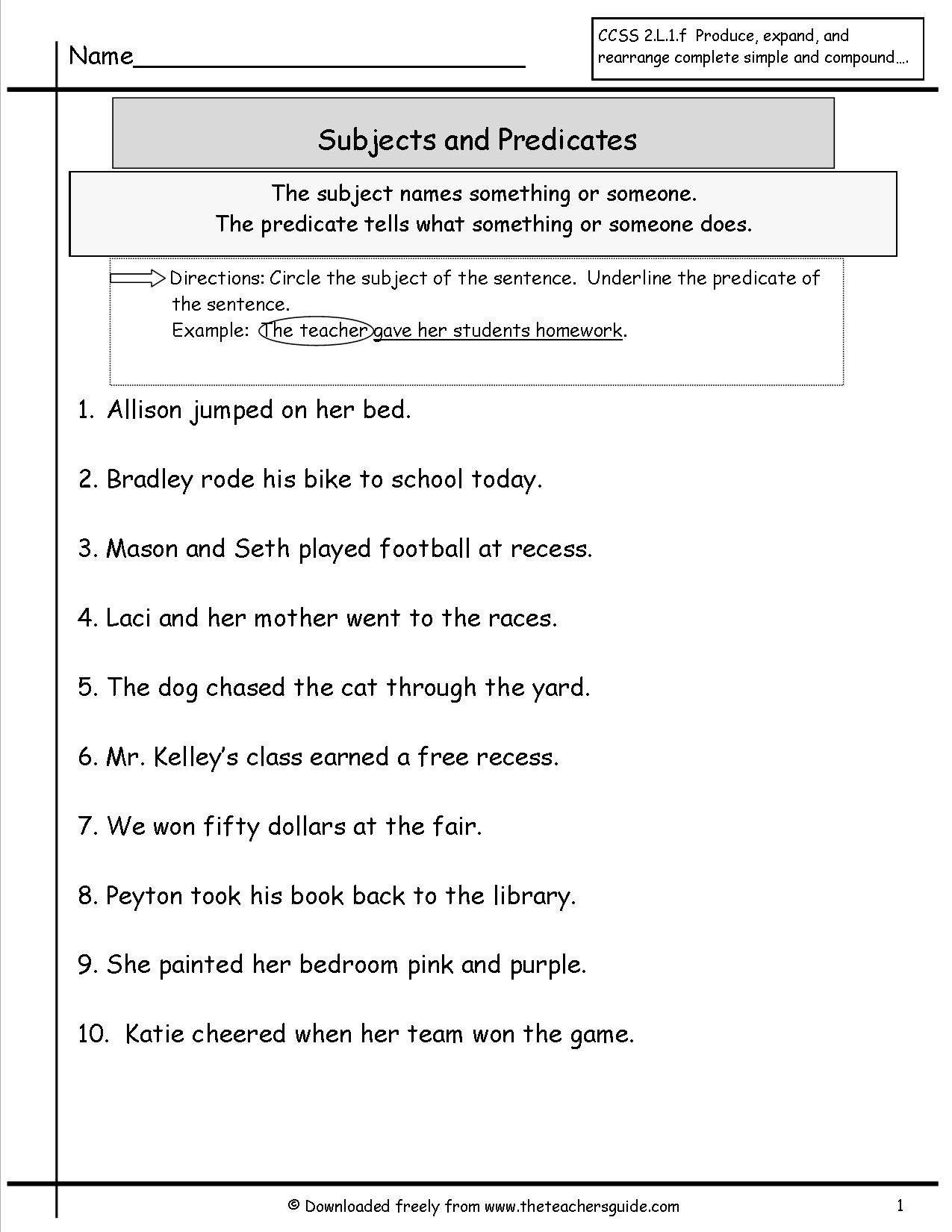 Subject Predicate Worksheet 2nd Grade What is A Sentence Lessons Tes Teach