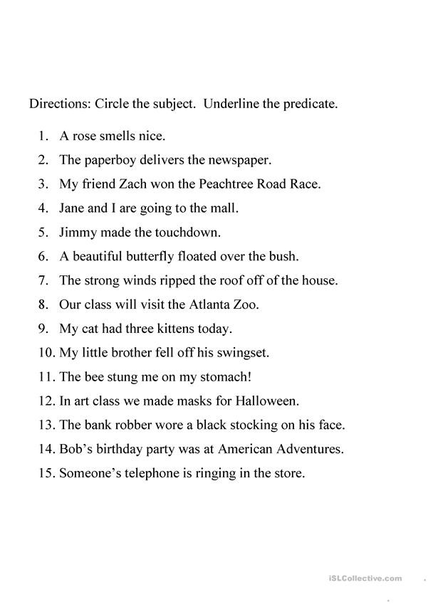 Subject Predicate Worksheet 6th Grade Identifying Subject and Predicate Worksheet English Esl