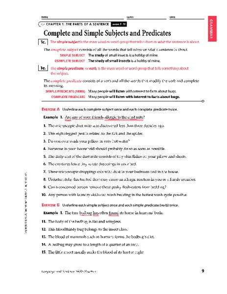 Subject Predicate Worksheet 6th Grade Plete and Simple Subjects and Predicates Worksheet for