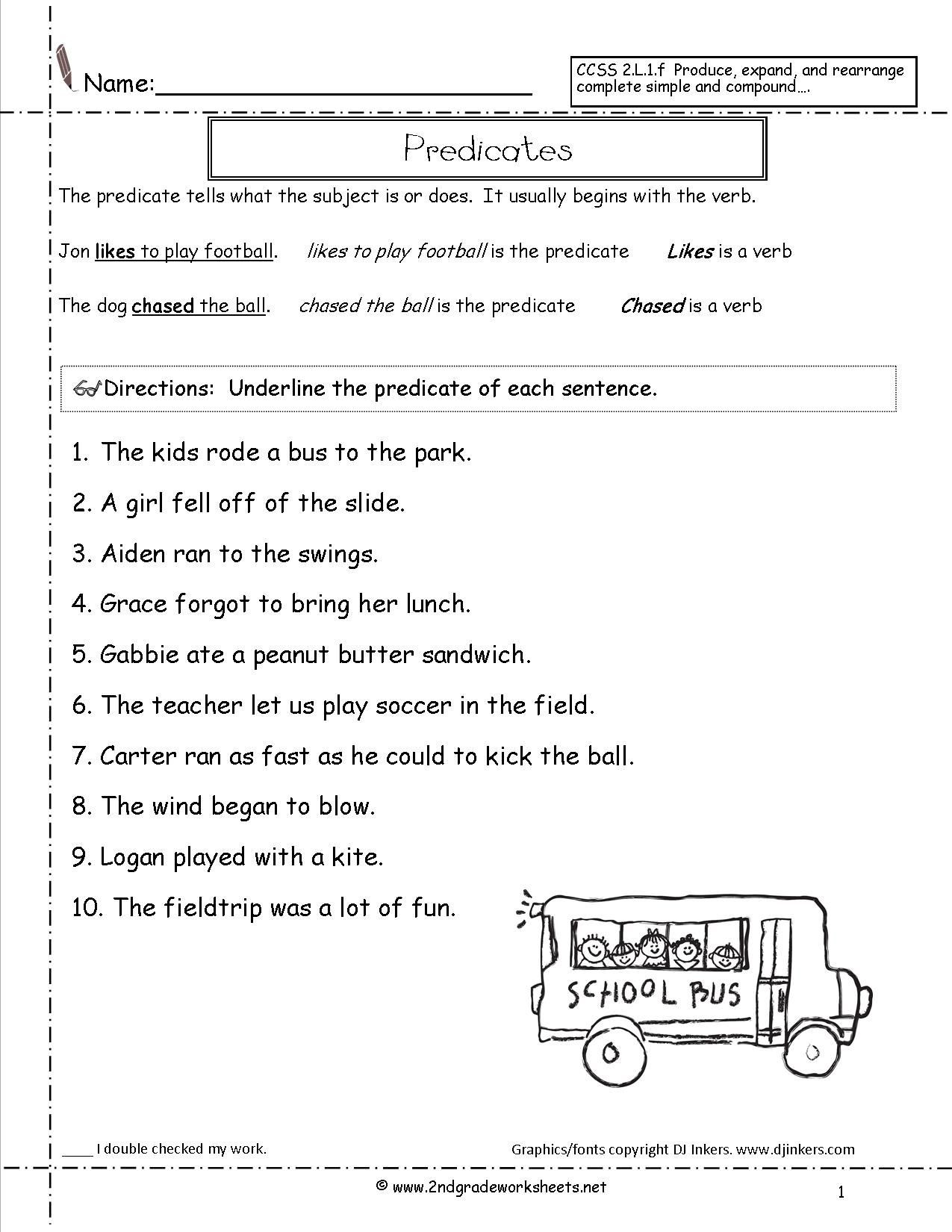 Subject Predicate Worksheet 6th Grade Subject and Predicate Sentences Worksheets for 3rd