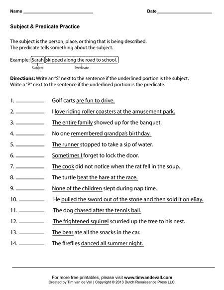 Subject Predicate Worksheet 6th Grade Subject and Predicate Worksheets First Grade Language Arts