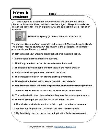 Subject Predicate Worksheet 6th Grade Subject and Predicate Worksheets