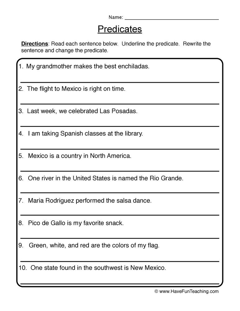 Subject Predicate Worksheet 6th Grade Writing New Predicates Worksheet