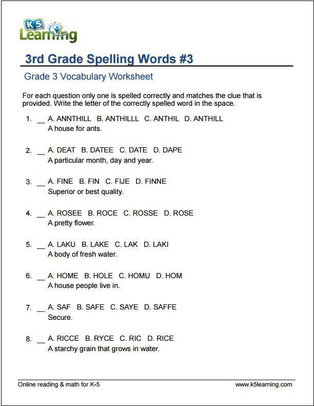Subject Worksheets 3rd Grade 3rd Grade Spelling Words