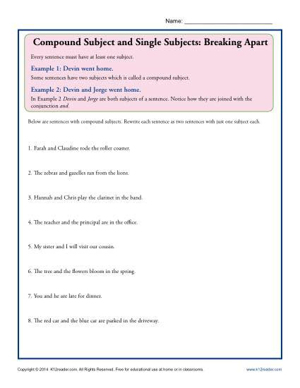 Subject Worksheets 3rd Grade Pound Subject and Single Subjects Breaking Apart
