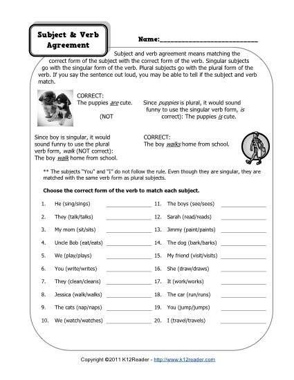 Subject Worksheets 3rd Grade Subject and Verb Agreement Worksheets