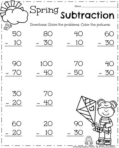Subtraction Worksheets 1st Grade First Grade Worksheets for Spring