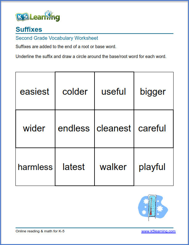 Suffixes Worksheets for 2nd Grade 2nd Grade Vocabulary Worksheets – Printable and organized by