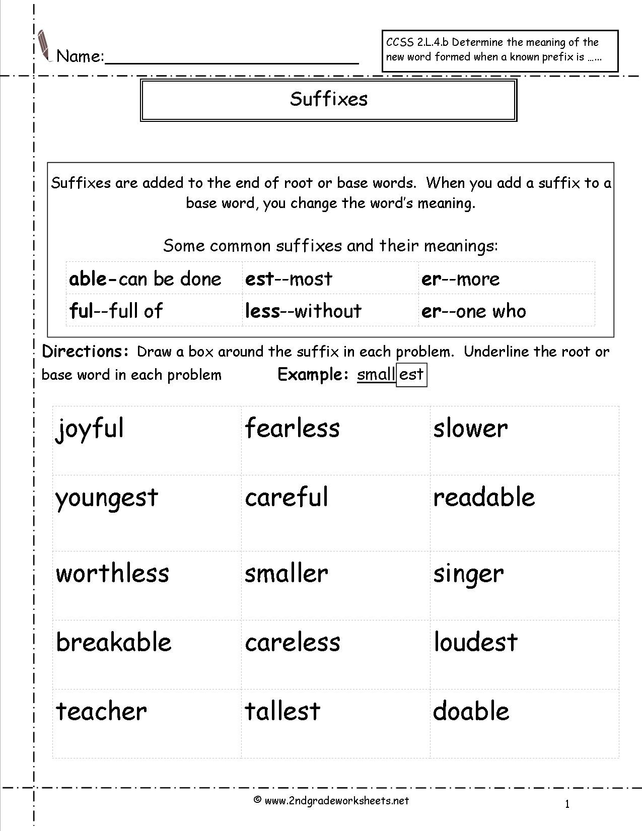 Suffixes Worksheets for 2nd Grade Second Grade Prefixes Worksheets