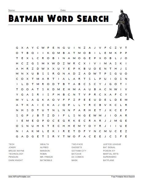 Superhero Word Search Printable Batman Word Search Free Printable Allfreeprintable