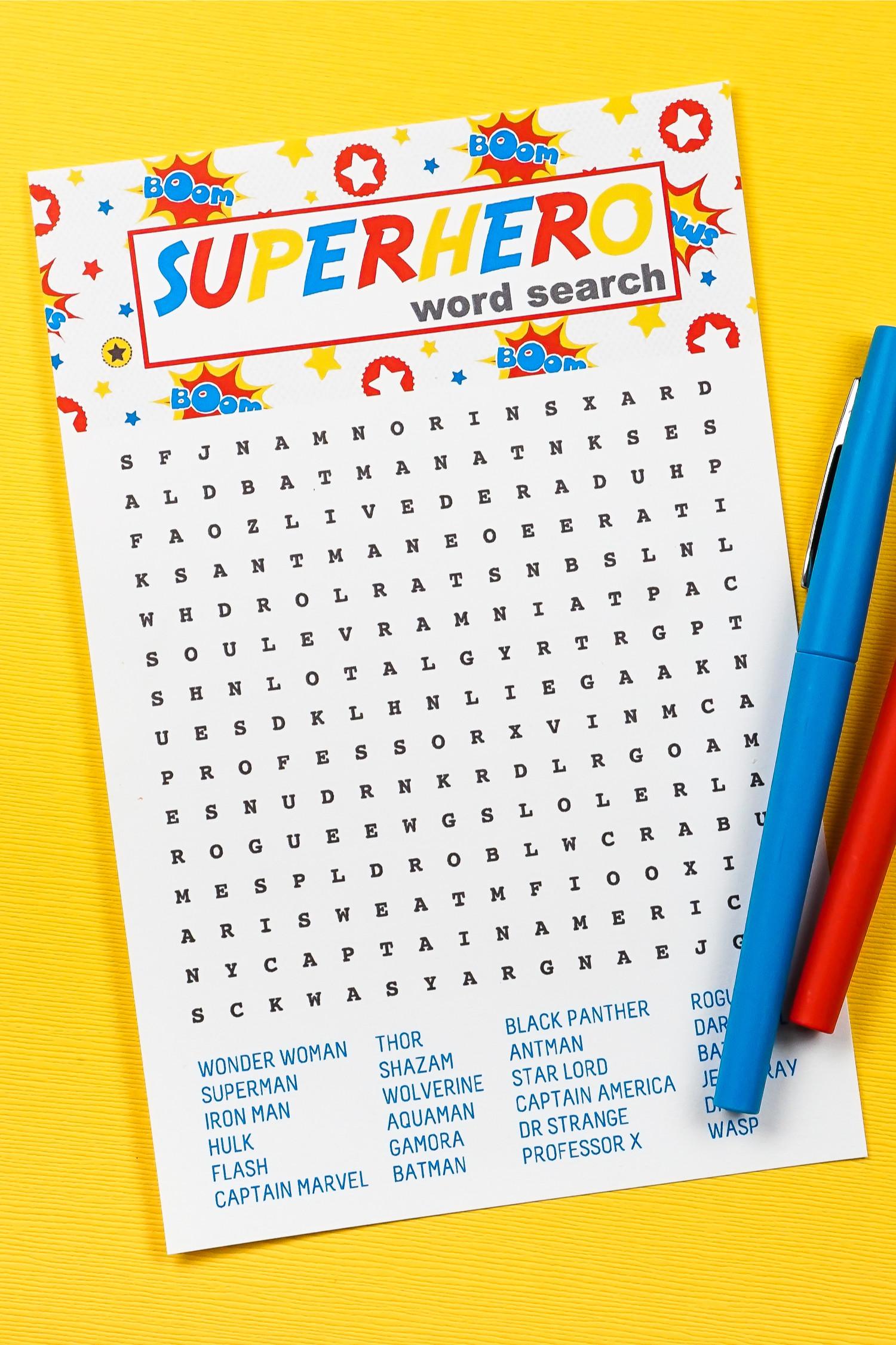 Superhero Word Search Printable Free Printable Superhero Word Search Hey Let S Make Stuff
