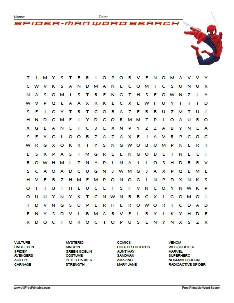 Superhero Word Search Printable Spider Man Word Search Free Printable Allfreeprintable