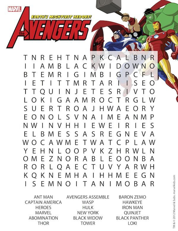 Superhero Word Search Printable Superhero Printables