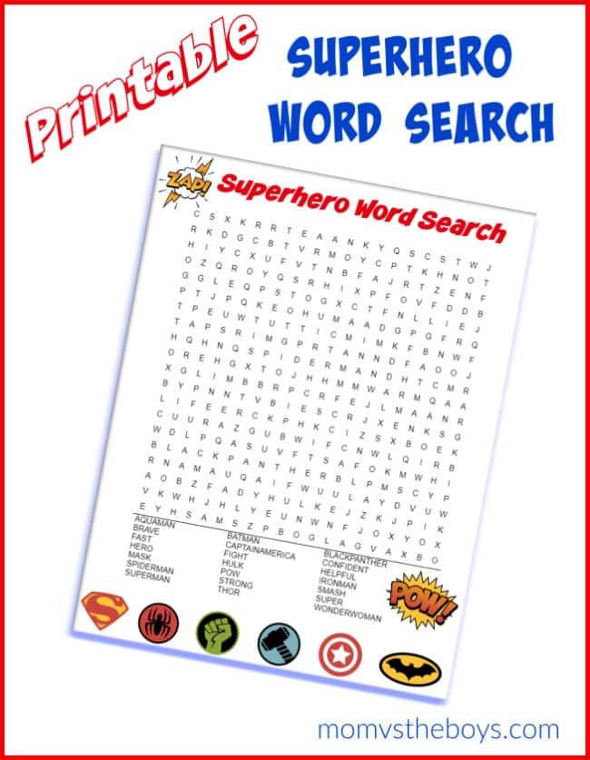 Superhero Word Search Printable Superhero Word Search Puzzle Mom Vs the Boys
