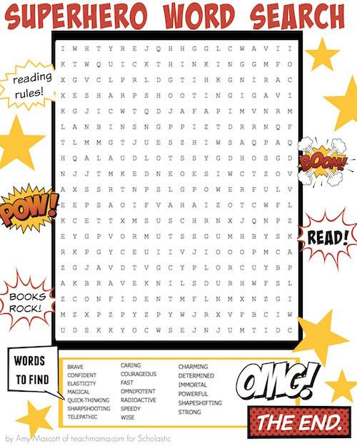 Superhero Word Search Printable Superhero Word Search Worksheets & Printables