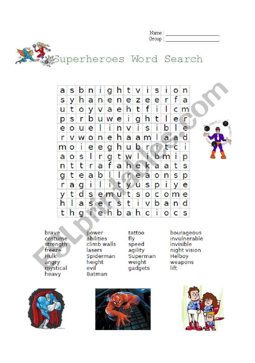 Superhero Word Search Printable Superheroes Word Search Esl Worksheet by Cyndianne