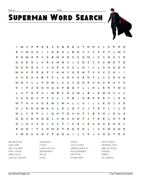 Superhero Word Search Printable Superman Word Search Free Printable Allfreeprintable