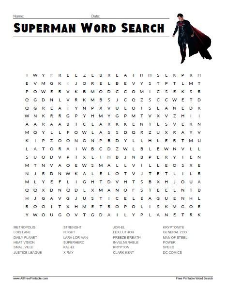 Superhero Word Search Printable Superman Word Search Free Printable Allfreeprintable