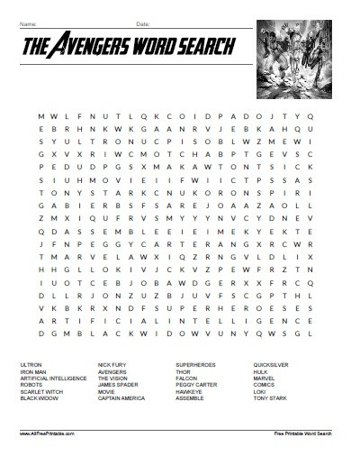 Superhero Word Search Printable the Avengers Word Search Free Printable Allfreeprintable