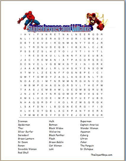 Superhero Word Search Printable Would You Prefer to Be A Super Villain