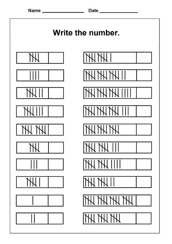 Tally Mark Worksheets for Kindergarten Free Tally Mark Worksheets to Print