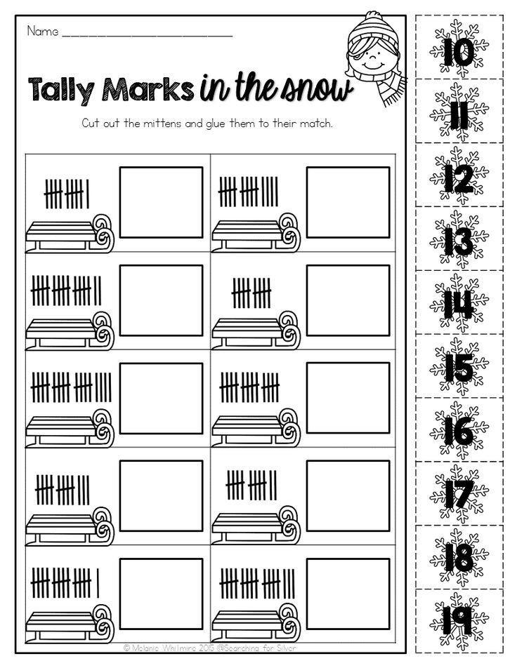 Tally Mark Worksheets for Kindergarten Winter Math & Literacy Printables 1st Grade