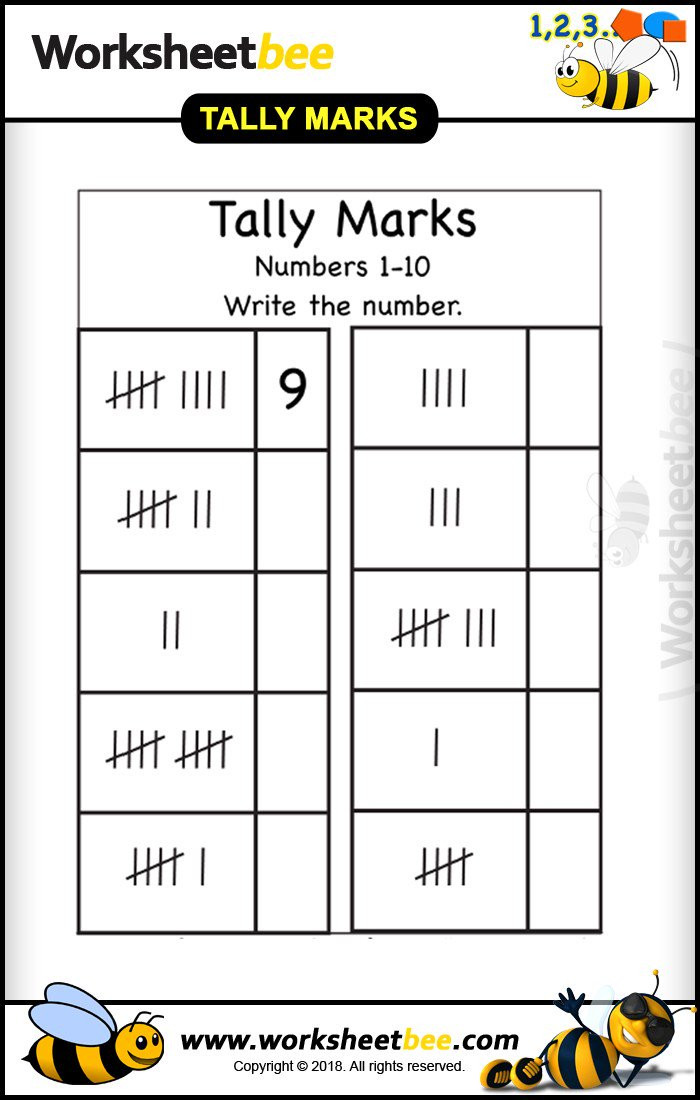 Tally Mark Worksheets for Kindergarten Worksheet Bee Worksheet Bee