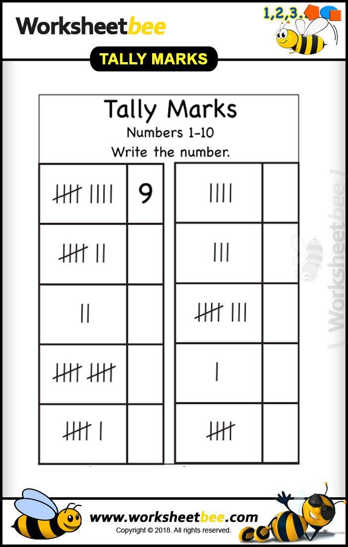 Tally Mark Worksheets for Kindergarten Worksheet Bee Worksheet Bee