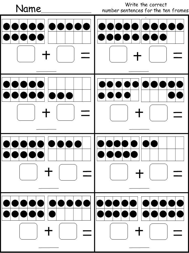 Ten Frame Worksheets for Kindergarten Free Ten Frame Addition Printable